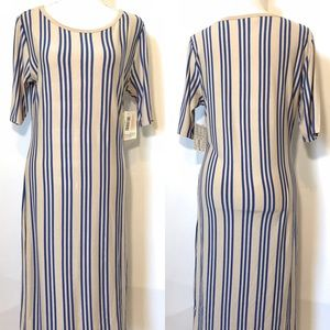 Lularoe pinstriped fitted dress, Sz Large